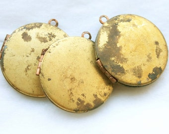 LAST 2 LEFT 12 Round Rustic Vintage 1950s Antique Brass  Copper Lockets NOS