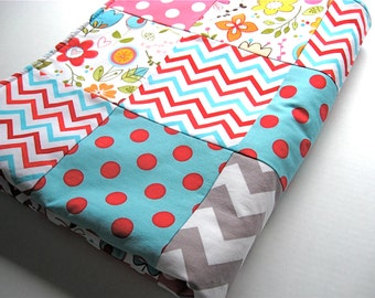 Patchwork Quilted Baby Blanket, Sunny Happy Skies Floral White - READY TO SHIP