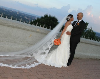 Jessica's reembroidered lace cathedral veil