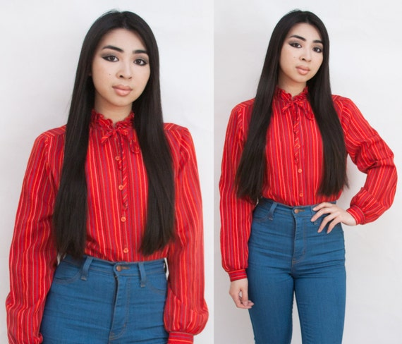 Candy Stripe Ruffle Neck Tie Button Up Blouse Multicolor Red XS S M