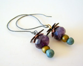 SALE - clearance - amethyst and brass artisan earrings