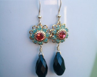 Colorful Swarovski Crystal Flower and Briolette Earrings on Gold , bridesmaid, wedding, retro