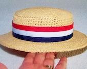 Straw Hat - Boater hat - Baby Photo Prop - Newborn Straw Hat - Sun Hat - Baby Photo Prop - Raffia Hat - Summer Hat - Vintage Straw Hat