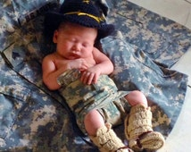 Cavalry hat -Military hat and boots - military baby hat and boots with spurs - military hat and tan tanker boots - military uniform