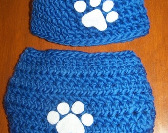 Kentucky wildcats hat and diaper cover with paw prints