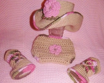 Baby Cowboy Boots - Baby Cowgirl Outfit - Crochet Baby Outfit - Newborn Photo Prop - Baby Cowboy Outfit - Baby Cowboy Hat - Baby Photo Prop