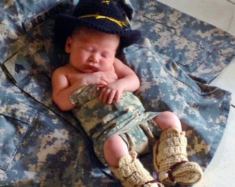 Cavalry Hat - Military Hat And Boots - Military Baby Hat And Boots With Spurs - Military Hat And Tan Tanker Boots - Military Uniform