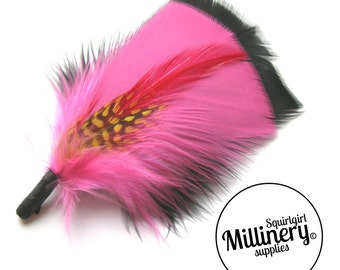 Men's Pink & Black Hat Feathers Millinery Mount (Turkey, Hackle and Spotted Guinea Feathers)