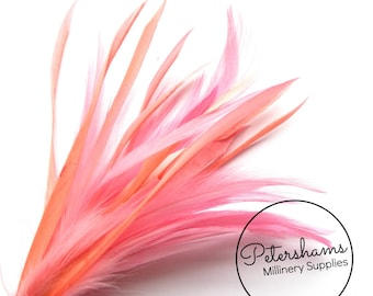 Goose Biot & Hackle Feather Hat Mount Trim for Fascinators, Wedding Bouquets and Hat Making- Flamingo Pink