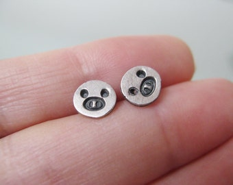 Precious Piggy Silver Mini Post Earrings