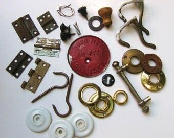 Vintage Destash Lot Knobs Hooks and Hinges 28 pieces