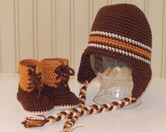Cotton Earflap Hat with Matching Bean Booties