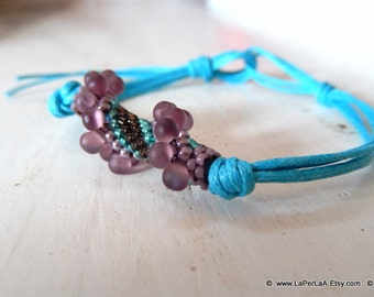 for her or him - surfer UNISEX bracelet with beaded tube - minimal chic - wine grapes