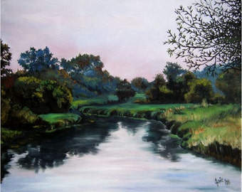 Summer River Landscape Painting - 10x8in Mini Giclee Print