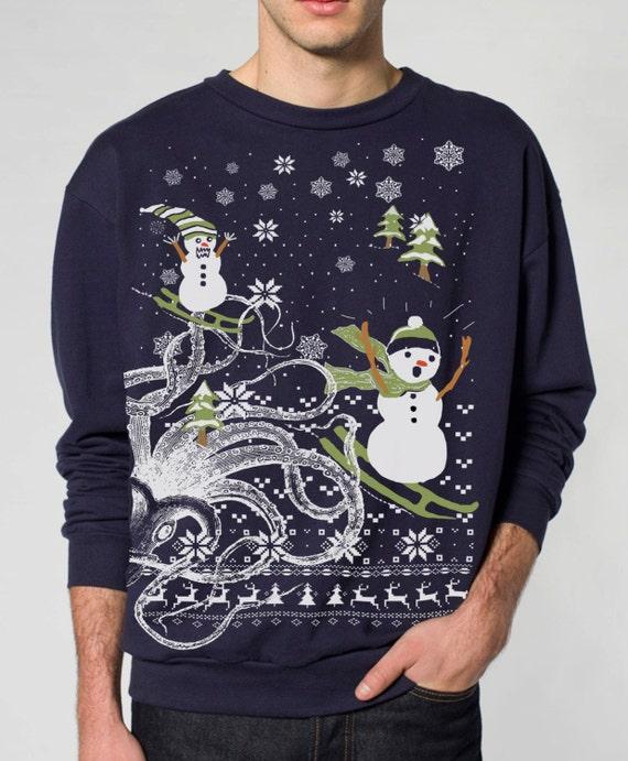 Ugly Christmas sweater Octopus Kraken Snowman pullover