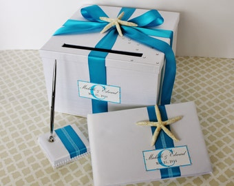 Wedding Card Box Guest Book and Pen Set White Turquoise Blue Beach Starfish Theme Customizable
