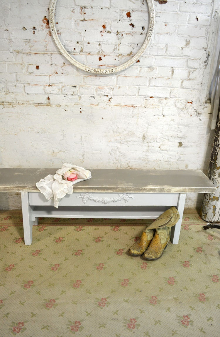 painted cottage chic shabby farmhouse bench chr74