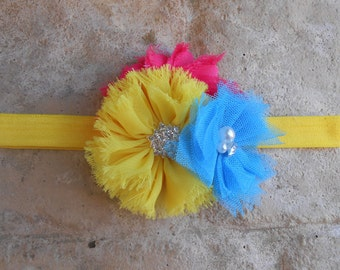 Hot pink yellow and turquoise shabby mesh tulle and chiffon flowers  with rinestones and pearls  headband   newborn-toddler-girls
