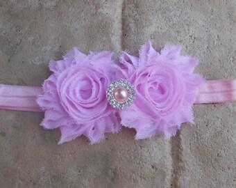 Light Pink shabby flowers with pearl rhinestone center on a matching headband newborn-toddler-girls