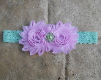 Light pink and mint green shabby  flower headband  with rinestones and pearls mint lace headband newborn-toddler-girls