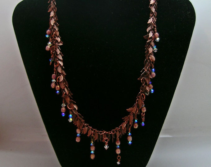 Pink Crystal and Antique Copper Leaf Chain Necklace and Earring Set