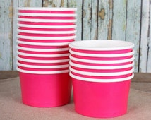 Small Hot Pink Paper Ice Cream Cups, Pink Ice Cream Bowls, Sundae Cups, Ice Cream Party Cups, Dessert Cups, 4oz Ice Cream Party Cups (18)