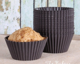 Brown Silicone Cupcake Liners, Brown Silicone Baking Cups, Silicone Cupcake Cups, Brown Silicone Baking Molds, Cupcake Mold (24)