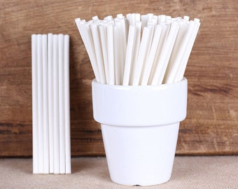 "Extra Small White Paper Lollipop Sticks, Mini Cake Pop Sticks, Paper Lolly Sticks, Mini Pop Sticks, Hard Candy Lollipop Sticks (3""- 30 ct)"