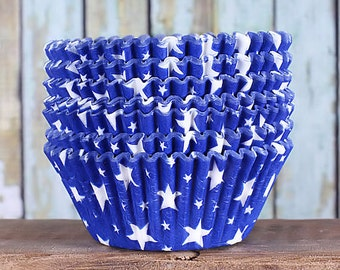 Blue Star Cupcake Liners, Patriotic Cupcake Liners, Star Baking Cups, Fourth of July Cupcake Liners, Star Cupcake Wrappers (50)