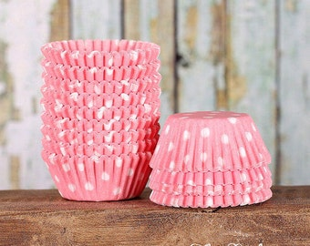 MINI Light Pink Polka Dot Cupcake Liners, Light Pink Dot Candy Cups, Wedding Cake Pop Cups, Mini Treat Cups, Baby Shower Mini Liners (100)