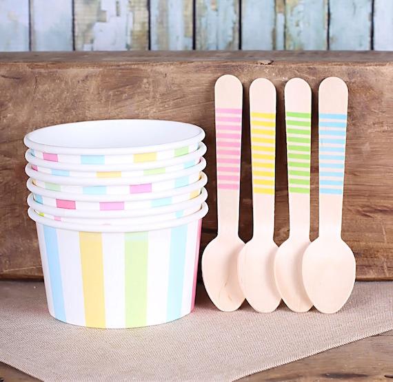 Pastel Rainbow Stripe Ice Cream Cups Amp Wooden Spoon Set