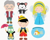 Disney Inspired Pinocchio Digital CLIP ARTS personal and commercial use for invitations, cupcake toppers, birthday cards, party supplies