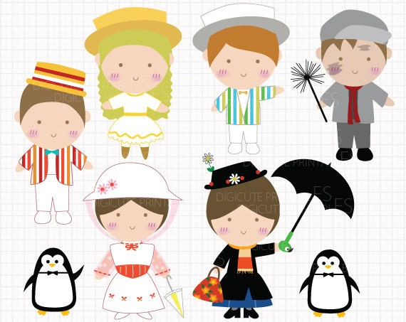 Film Inspired Mary Poppins Digital Clip Arts Personal And