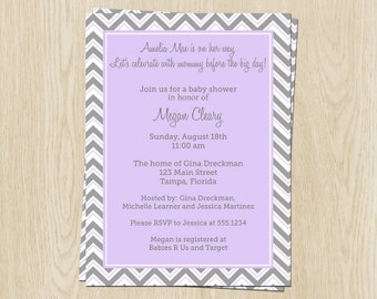 Chevron Stripes Baby Shower Invitations, Girls, Purple, Gray, Set of 10 Printed Cards with Envelopes, FREE Ship, ZZGPK, Simple Chevron Girl