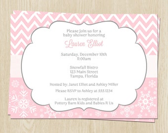 Winter Baby Shower Invitations, Pink, Chevron, Snowflakes, Set of 10 Printed Cards with Envelopes, FREE Ship, WCHGL, Winter Chevron Girl