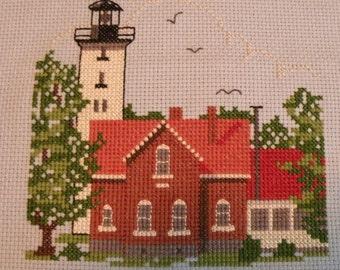 Finished Cross Stitch - Presque Isle Lighthouse