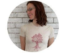 Screenprinted Shirt, Women's Tree Tshirt, Cotton Crewneck Ladies Tee Shirt, Tan Beige Cream, Short Sleeved, Hand Printed, Nature Inspired