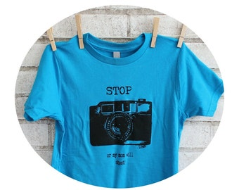 Children's CAMERA T Shirt, TURQUOISE, Tshirt, Toddler, Youth, Cotton Crewneck Graphic Tee