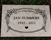 "Garden Memorial Plaque -Floral Border 12x8""  Italian Porcelain Tile- Free Shipping!"