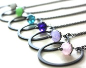 Rustic Bridal Party Jewelry : Modern Sleek Rustic Bridesmaid Necklace / Your Color Chain Length Choice Set of 5 Bridal Jewelry Multi Color