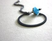 Modern Aqua Glass and Metal Necklace : Rustic Modern Open Circle Robin's Egg Blue Sleek Mod Jewelry / Beauty and the Beast in Aqua