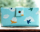 Womens wallet clutch all organic vegan blue with birds and clouds