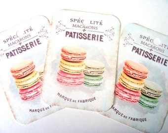 Shabby Macaron - Gift Tags - Set of 4 - Pastel Macarons - French Pastry - French Patisserie - Treat Tags - Cottage Chic - Thank Yous -