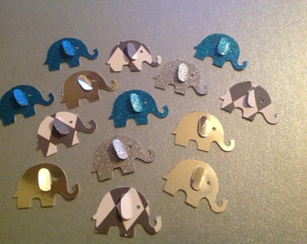 Paper Elephants 50 pc Silver Glitter  Diamond paper  Teal Glitter paper  Silver Mirrored paper Baby Shower  New Baby