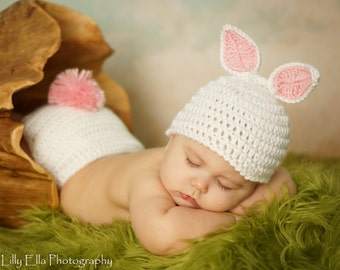 Crocheted White Baby Easter Bunny Hat and Diaper Cover set