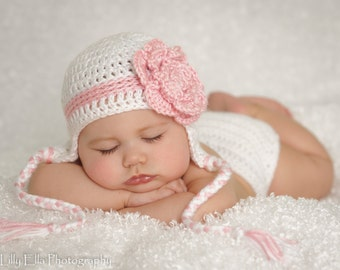 SALE Crocheted  Pretty in White Baby Diaper Cover and hat set    Ready to ship