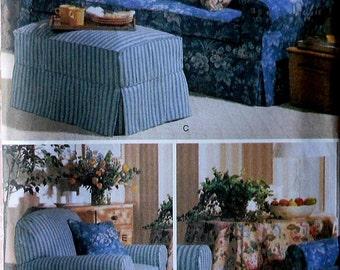 Slipcovers Sewing Pattern UNCUT Butterick 5293 Waverly sofa chair ottoman slipcover