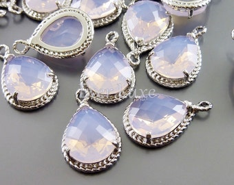 2 violet opal glass stone pendants with rope rim, glass charms, bridal / wedding jewelry 5054R-VIO (bright silver, violet opal, 2 pieces)