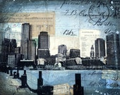 Harborwalk No. 6 - paper print of Boston skyline mixed media collage