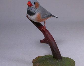 Zebra Finch -1 Hand Carved Wooden Bird